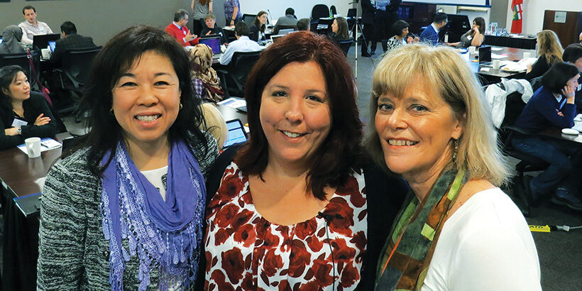 Melissa Sheldrick (centre) with CEO and Registrar Nancy Lum-Wilson (left) and Deputy Registrar Anne Resnick.