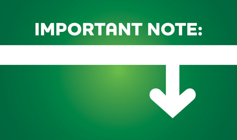 Important Note banner