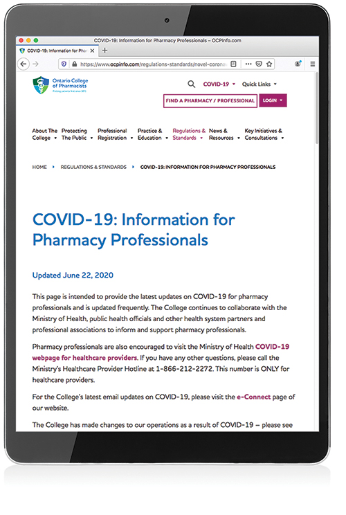 Tablet Covid Page