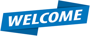 Welcome banner with the word welcome