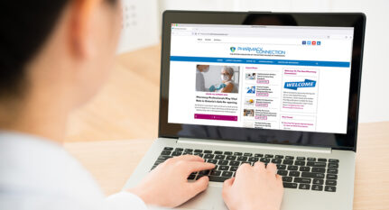 Pharmacist viewing pharmacyconnection.ca on a laptop