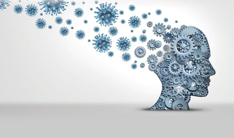 Illustration of a head thinking with gears becoming covid virus